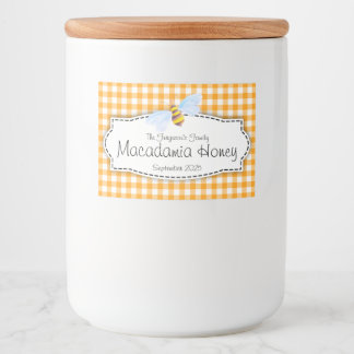 Honey bee gingham checked food label