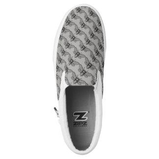 Honey Bee Graphic Art Grey Black Slip On Sneakers