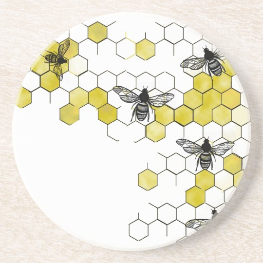 Honey Bee Honeycomb Coasters