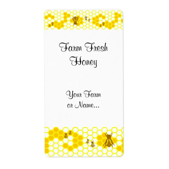 Honey Bee Honeycomb Custom Shipping Label