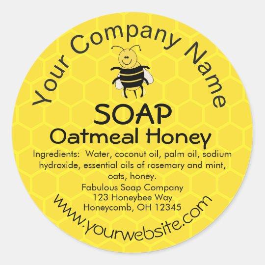 Honey Bee Honeycomb Custom Soap Label Stickers
