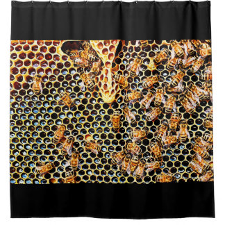 Honey Bee Honeycomb Hive Bathroom Shower Curtain