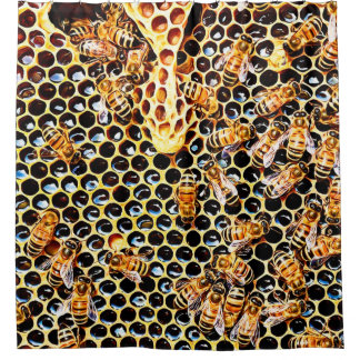 Honey Bee Honeycomb Hive Bathroom Shower Curtain