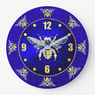 Honey Bee in Gold and Blue Wallclock