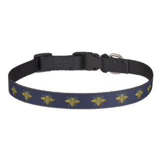 Honey Bee in Gold Your Background Color Pet Collar