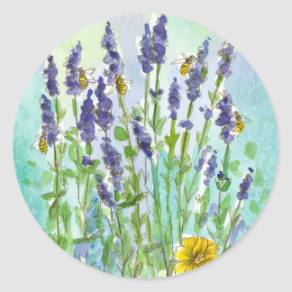 Honey Bee Lavender Herb Watercolor Flowers Classic Round Sticker