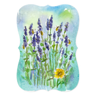Honey Bee Lavender Watercolor Flower Bridal Shower Card