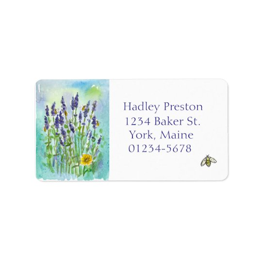 Honey Bee Lavender Watercolor Flowers