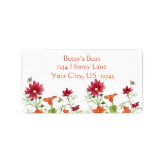 Honey Bee Nasturtium Red Painted Daisy Label