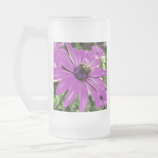 Honey Bee On a Spring Flower Frosted Glass Beer Mug