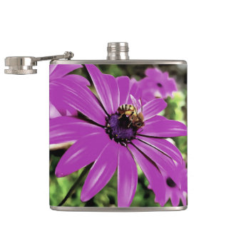 Honey Bee On a Spring Flower Hip Flask