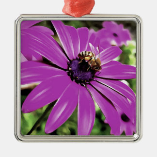 Honey Bee On a Spring Flower Silver-Colored Square Ornament