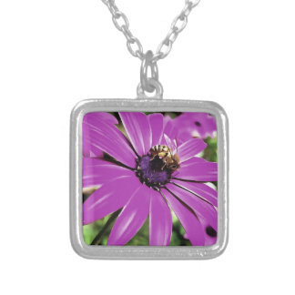 Honey Bee On a Spring Flower Silver Plated Necklace