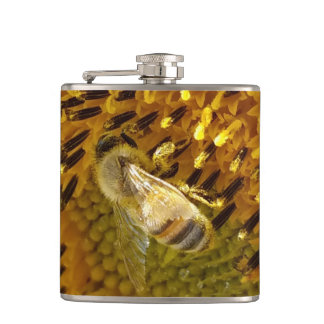 Honey Bee On a Sunflower Monogram  on back Hip Flask