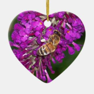 Honey Bee on Butterfly Bush Ceramic Heart Ornament