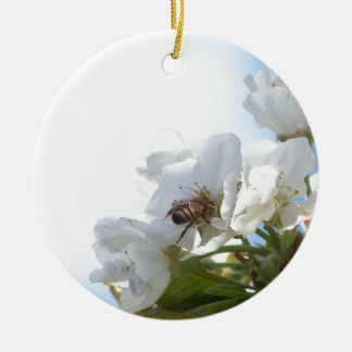 Honey Bee on Cherry Blossoms Round Ceramic Ornament