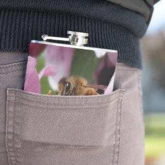 Honey Bee on Crabapple Monogram Hip Flask