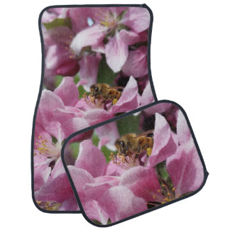 Honey Bee on Pink Crabapple blossom Spring Scene Car Liners