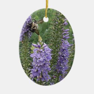 Honey Bee on Purple Flower 2 Ceramic Ornament