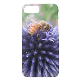 Honey Bee on Purple Globe Thistle Flower iPhone 8/7 Case
