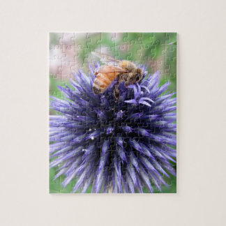 Honey Bee on Purple Globe Thistle Flower Jigsaw Puzzle