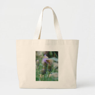 Honey Bee on Thistles Large Tote Bag