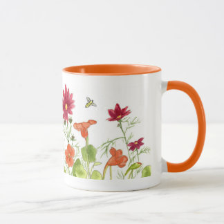 Honey Bee Orange Nasturtiums Painted Daisy Flowers Mug