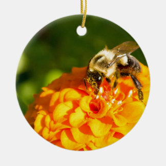 Honey Bee  Orange Yellow Flower With Pollen Sacs Ceramic Ornament