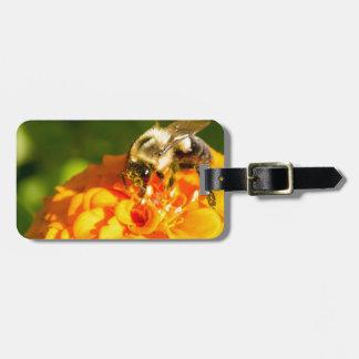 Honey Bee  Orange Yellow Flower With Pollen Sacs Luggage Tag