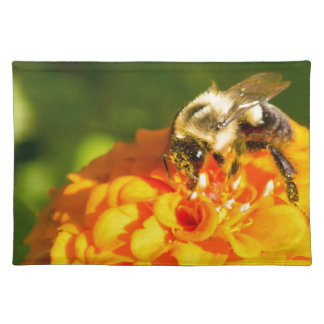 Honey Bee  Orange Yellow Flower With Pollen Sacs Placemat