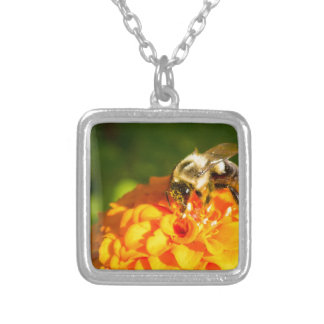 Honey Bee  Orange Yellow Flower With Pollen Sacs Silver Plated Necklace