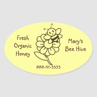 Honey Bee Oval Label Stickers