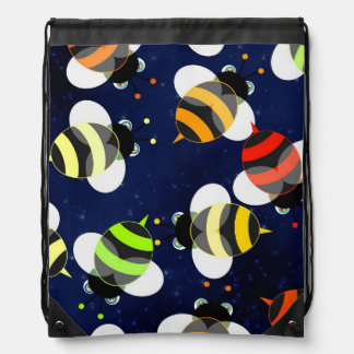 Honey Bee Pattern Drawstring Bag