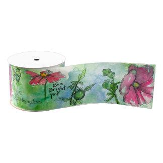 Honey Bee Pink Petunia Green Watercolor Wash Grosgrain Ribbon