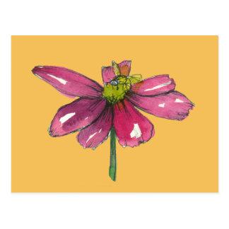 Honey Bee Plum Purple Daisy Orange Postcard