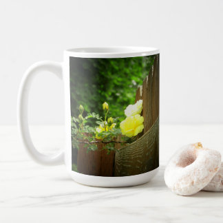 Honey Bee Pollinating Yellow Rose Hedge Coffee Mug