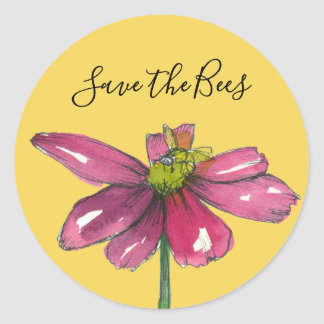Honey Bee Purple Daisy Save The Bees Classic Round Sticker