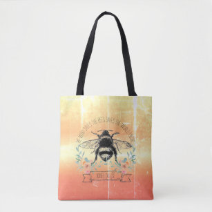 Bees tote bag Save the bees canvas tote gold bee hive tote with pocket handprinted tote reusable bag book bag farmers market bag