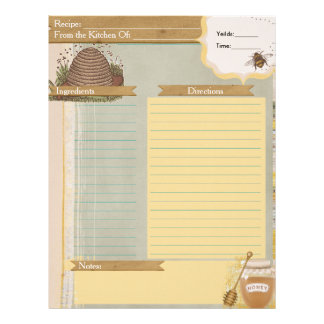 Honey Bee Recipe Card Insert
