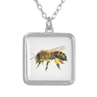 Honey Bee Watercolour Painting Artwork Print Silver Plated Necklace