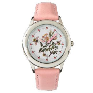 HONEY BEE ,WILD ROSES ,BEEKEEPER Floral Pink White Watch