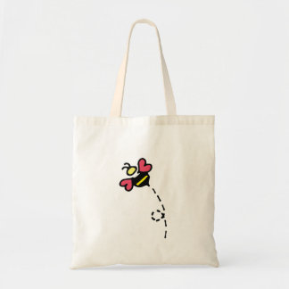 Honey Bee with Heart Wings Tote Bag
