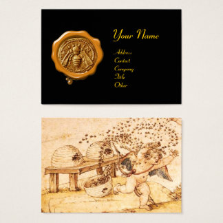 HONEY BEE YELLOW WAX SEAL / Cupid the Honey Thief Business Card