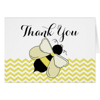 Honey Bee Yellow Zigzag Thank You Card