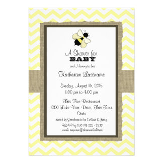Honey Bee ZigZag Baby Shower Invite