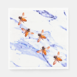Honey Bees and blue marble Disposable Napkins