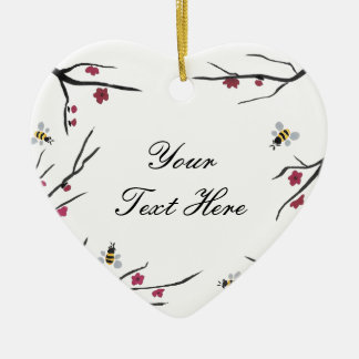 Honey Bees and Cherry Blossoms Ceramic Ornament