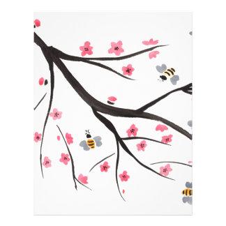 Honey Bees and Cherry Blossoms Custom Letterhead