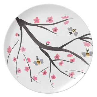 Honey Bees and Cherry Blossoms Dinner Plate