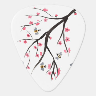 Honey Bees and Cherry Blossoms Guitar Pick